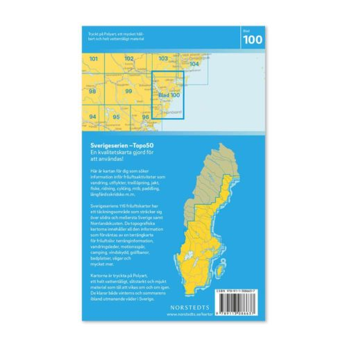 Friluftskarta 100 Härnösand Sverigeserien kort vandreture sverige art.nr 9789113086637 (2)