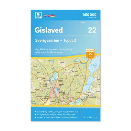 Friluftskarta 22 Gislaved Sverigeserien för mtb,paddling,outdoor 9789113085852