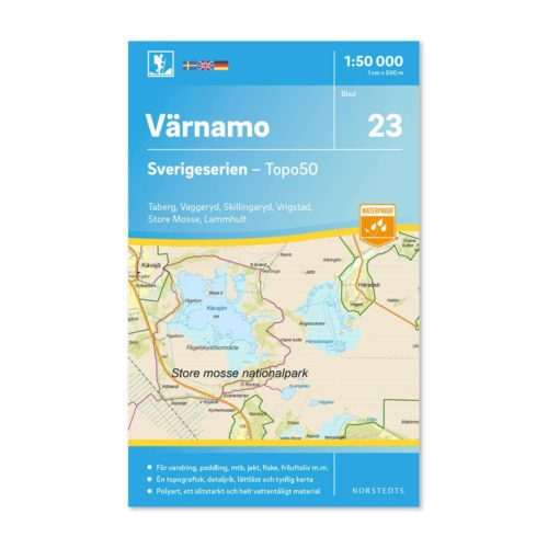 Friluftskarta 23 Värnamo Sverigeserien för mtb, karta för paddling 9789113085869 150 000