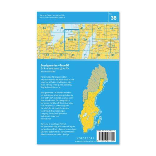 Friluftskarta 38 Skövde 150 000. Kartan täcker även in Djurö, Mariestad, Kinnekulle, Tidan, Skara, Hornborgarsjön 9789113086019 (2)