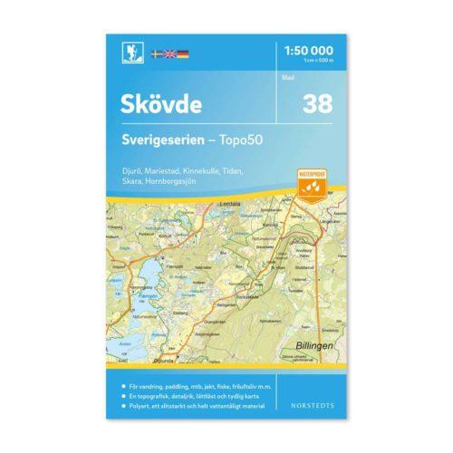 Friluftskarta 38 Skövde 150 000. Kartan täcker även in Djurö, Mariestad, Kinnekulle, Tidan, Skara, Hornborgarsjön 9789113086019