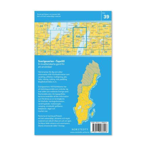 Friluftskarta 39 Karlsborg 150 000. Kartan täcker även in Hova, Unden, Tiveden, Töreboda, Viken, Tibro, Hjo och Omberg 9789113086026 (2)