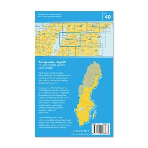 Friluftskarta 40 Linköping 150 000. Kartan täcker även in Motala, Boren, Vadstena, Omberg, Tåkern, Mjölby, Ödeshög och Brokind.art 9789113086033 (2)