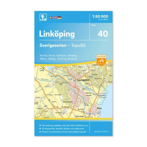 Friluftskarta 40 Linköping 150 000. Kartan täcker även in Motala, Boren, Vadstena, Omberg, Tåkern, Mjölby, Ödeshög och Brokind.art 9789113086033
