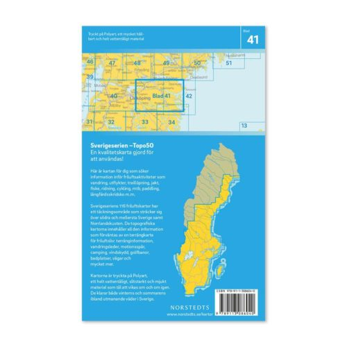 Friluftskarta 41 Söderköping 150 000. Kartan täcker även in Södra Norrköping, Vikbolandet, St Anna, Linghem, Yxningen och Valdemarsvik. artnr 9789113086040 (2)