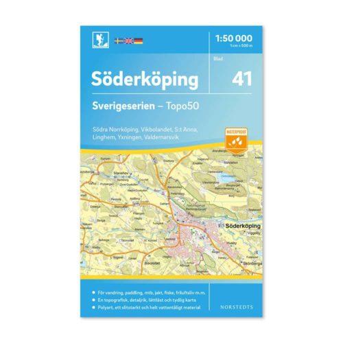 Friluftskarta 41 Söderköping 150 000. Kartan täcker även in Södra Norrköping, Vikbolandet, St Anna, Linghem, Yxningen och Valdemarsvik. artnr 9789113086040