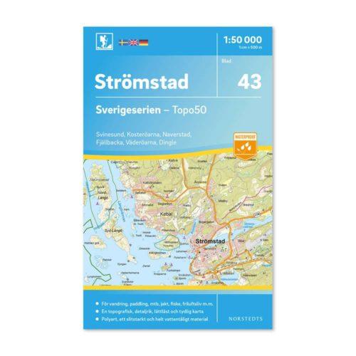 Friluftskarta 43 Strömstad 150 000. Kartan täcker även in Svinesund, Kosteröarna, Naverstad, Fjällbacka, Väderöarna och Dingle.art.nr 9789113086064