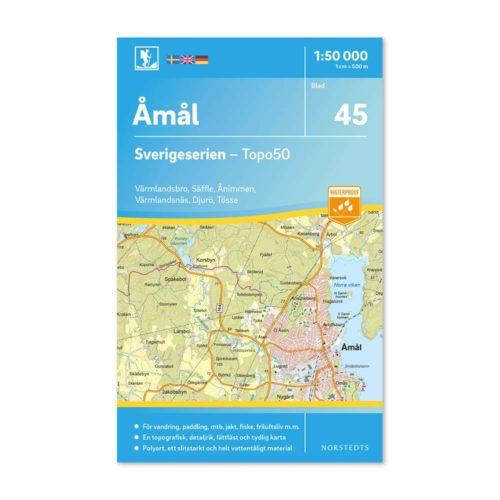 Friluftskarta 45 Åmål 150 000. Kartan täcker även in Värmlandsbro, Säffle, Ånimmen, Värmlandsnäs, Djurö och Tösse.9789113086088