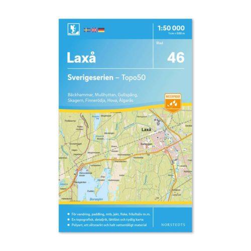 Friluftskarta 46 Laxå 150 000. Kartan täcker även in Bäckhammar, Mullhyttan, Gullspång, Skagern, Finnerödja, Hova och Älgarås. art.nr 9789113086095