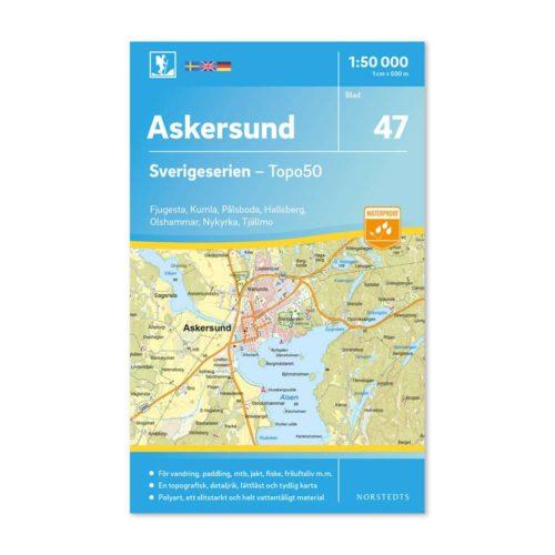 Friluftskarta 47 Askersund 150 000. Kartan täcker även in Fjugesta, Kumla, Pålsboda, Halsberg, Olshammar, Nykyrka och Tjällmo.Art.nr 9789113086101