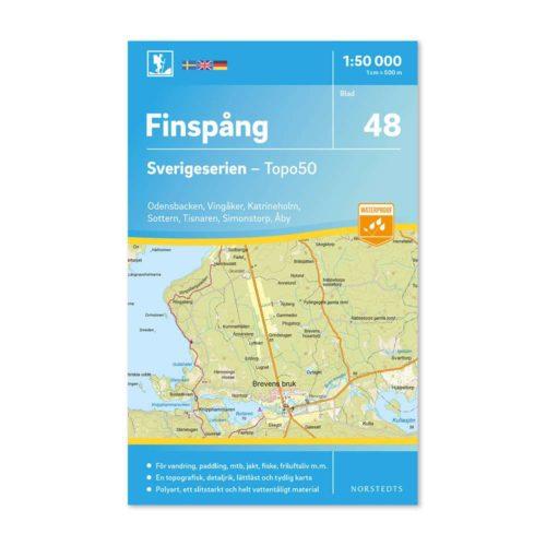 Friluftskarta 48 Finspång 150 000. Kartan täcker även in Odensbacken, Vingåker, Katrineholm, Sottern, Tisnaren, Simonstorp och Åby. 9789113086118