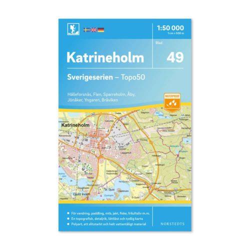 Friluftskarta 49 Katrineholm 150 000. Kartan täcker även in Hälleforsnäs, Flen, Sparreholm, Åby, Jönåker, Yngaren och Bråviken. 9789113086125
