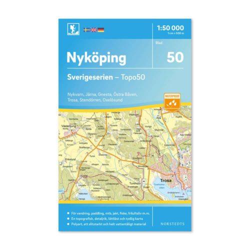 Friluftskarta 50 Nyköping 150 000. Kartan täcker även in Nykvarn, Järna, Gnesta, Östra Båven, Trosa, Stendörren och Oxelösund. 9789113086132