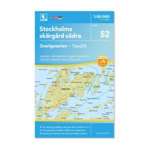 Friluftskarta 52 Stockholms södra skärgård 150 000. Kartan täcker även Vaxholm, Värmdölandet, Ingarö, Sandhamn, Runmarö, Nämdö, Dalarö, Ornö och Utö.art.nr 9789113086156