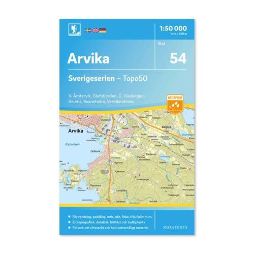Friluftskarta 54 Arvika Sverigeserien 150 000. Kartan täcker även Västra Ämtervik, Glafsfjorden, Östra Glaskogen, Grums, Svaneholm och Värmlandsbro.art.nr 9789113086170