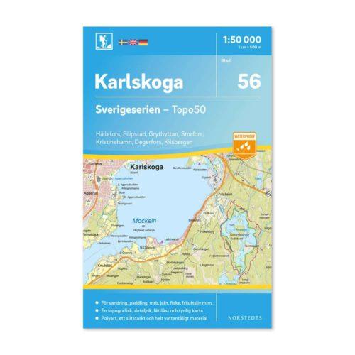 Friluftskarta 56 Karlskoga 150 000. Kartan täcker även Hällefors, Filipstad, Grythyttan, Storfors, Kristinehamn, Degerfors och Kilsbergen. art.nr 9789113086194 (1)
