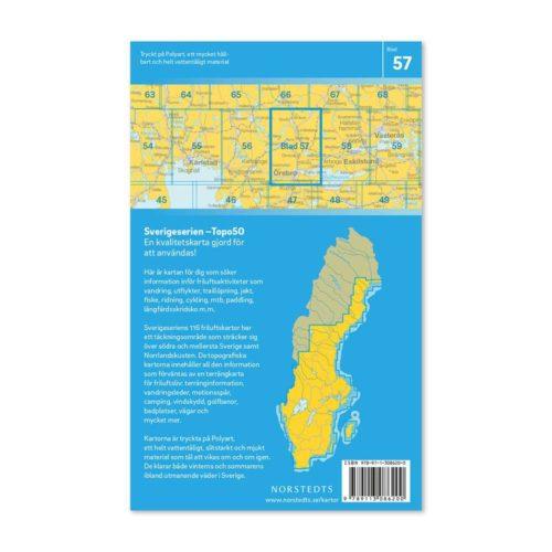 Friluftskarta 57 Örebro 150 000. Kartan täcker även Östra Kilsbergen, Ramsberg, Lindesberg, Nora, Frövi, Garphyttan, St Mellösa och Käglan. art.nr 9789113086200 (2)