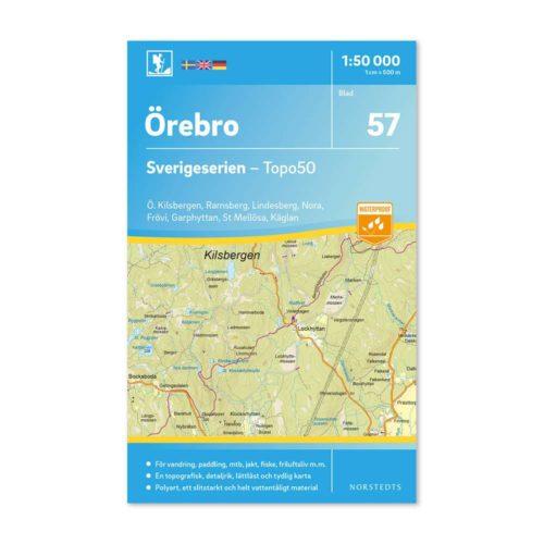 Friluftskarta 57 Örebro 150 000. Kartan täcker även Östra Kilsbergen, Ramsberg, Lindesberg, Nora, Frövi, Garphyttan, St Mellösa och Käglan. art.nr 9789113086200