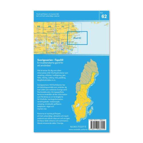Friluftskarta 62 Stockholms Norra Skärgård 150 000. Kartan täcker även Norrtälje, Söderarm, Ängsö, Yxlan, Blidö, Ljusterö, Svenska Högarna och Möja. art 9789113086255 (2)