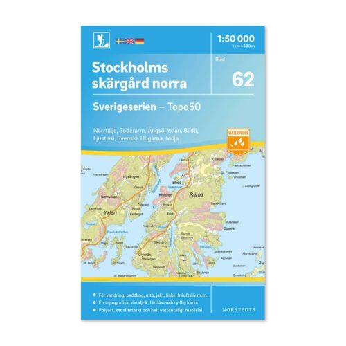 Friluftskarta 62 Stockholms Norra Skärgård 150 000. Kartan täcker även Norrtälje, Söderarm, Ängsö, Yxlan, Blidö, Ljusterö, Svenska Högarna och Möja. art 9789113086255