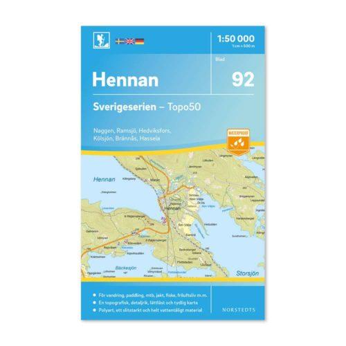 Friluftskarta 92 Hennan Sverigeserien karta vandra 9789113086552