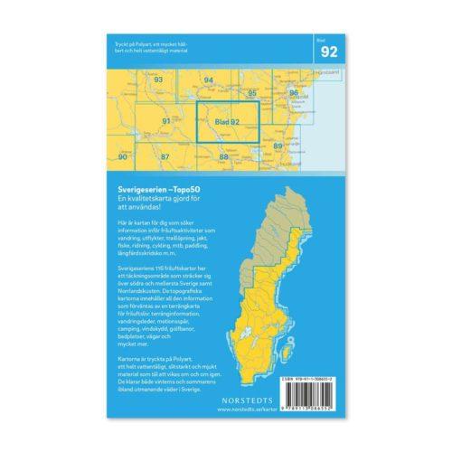 Friluftskarta 92 Hennan Sverigeserien karta vandra 9789113086552 baksida