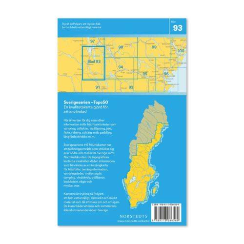 Friluftskarta 93 Åsarna Sverigeserien karta för vandring 9789113086569 framsida (2)