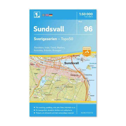 Friluftskarta 96 Sundsvall vandring karta 9789113086590 framsida
