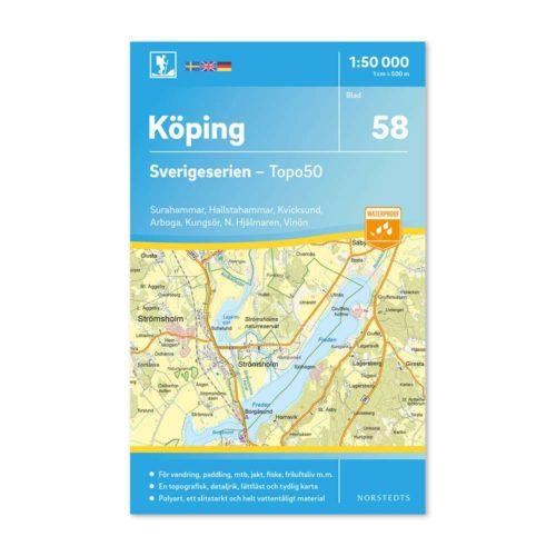 Friluftskarta 58 Köping 1:50 000. Surahammar, Hallstahammar, Kvicksund, Arboga, Kungsör, Norra Hjälmaren och Vinön. 9789113086217
