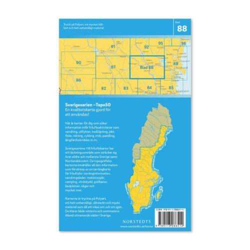 friluftskarta, skridskokarta, vandringskarta artikel 9789113086514 blad 88 Ljusdal Sverigeserien 150 000 (2)