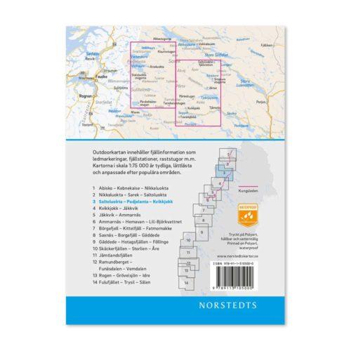 Fjällkarta 3 Saltoluokta Padjelanta Kvikkjokk outdoor map sweden 9789113068152 (2)