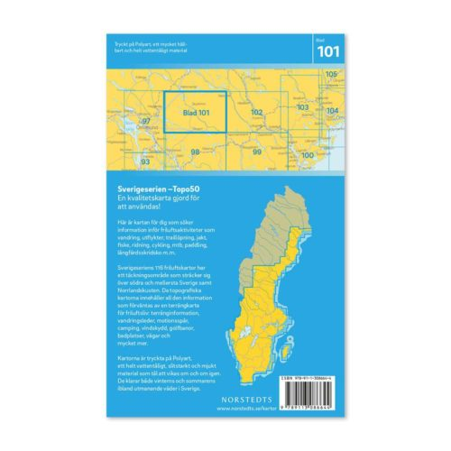Friluftskarta 101 Stugun Sverigeserien 9789113086644 kaart wandelen zweden (2)