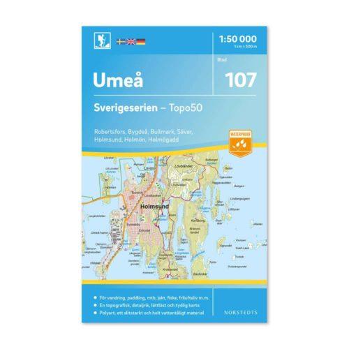 Friluftskarta 107 Umeå Sverigeserien, Vandringskarta, Terrängkarta, Outdoor Map Sweden 9789113086705