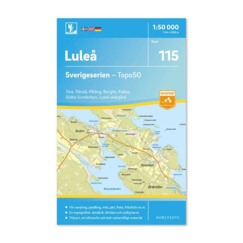 Friluftskarta 115 Luleå Sverigeserien Vandringskarta, Terrängkarta, Outdoor Map Sweden, Freizeitkarte Schweden art 9789113086781
