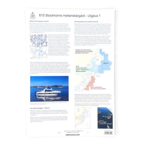 Hydrographica Stockholms Mellanskärgård båtsportkort produktbild baksida HG 615 Mellan