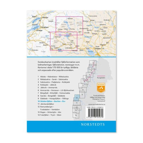 Outdoorkarta 10 fjällkarta Skäckerfjällen-Storlien-Åre baksida 9789113068237