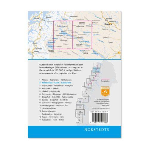 Outdoorkarta Fjällkarta 2 Nikkaluokta Sarek Saltoluokta 9789113068145 (2)