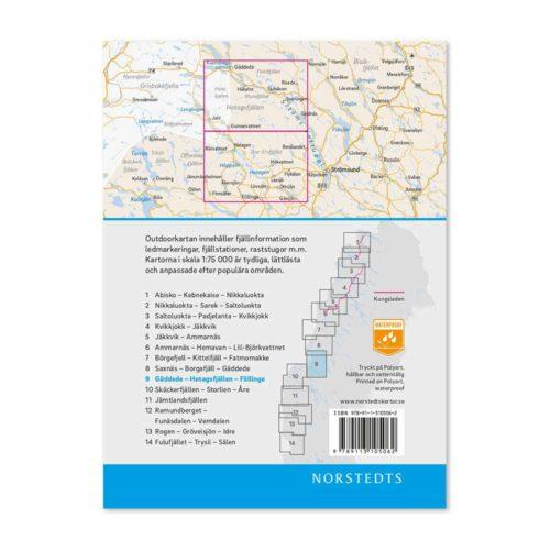 Outdoorkarta Fjällkarta 9 Gäddede-Hotagsfjällen-Föllinge baksida artnr 9789113068220 Outdoor map Sweden jämtland