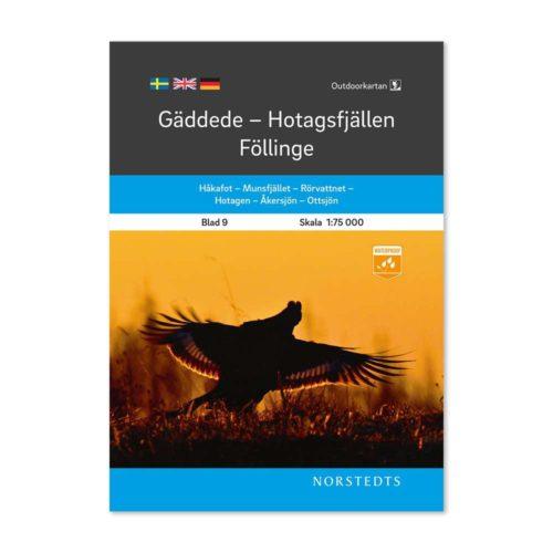 Outdoorkarta Fjällkarta 9 Gäddede-Hotagsfjällen-Föllinge framsida artnr 9789113068220 Outdoor map Sweden