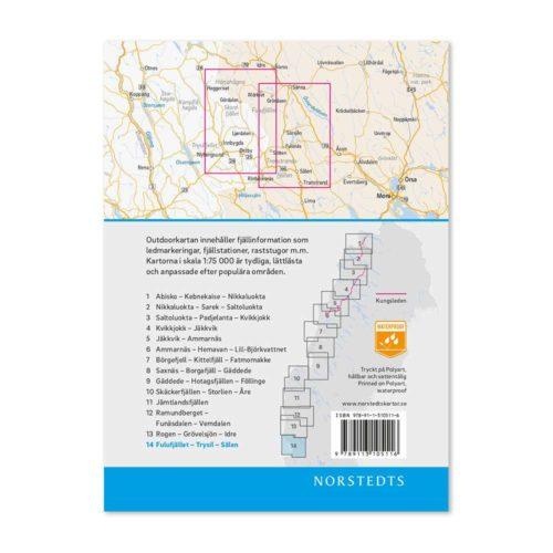 Outdoorkarta fjällkarta 14 Fulufjället-Trysil-Sälen baksida 9789113068275