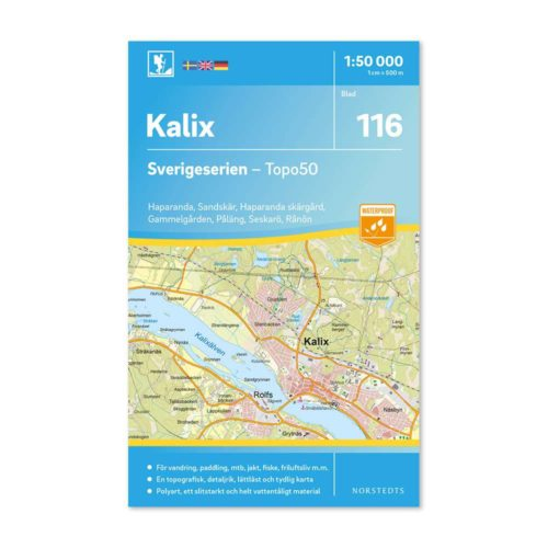 Sverigeserien friluftskarta outdoor 116 kalix artikelnummer 9789113086798
