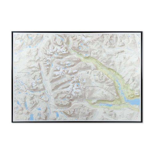 Fjällkarta Kebnekaise Nikkaluokta med svart ram karta kebnekaise