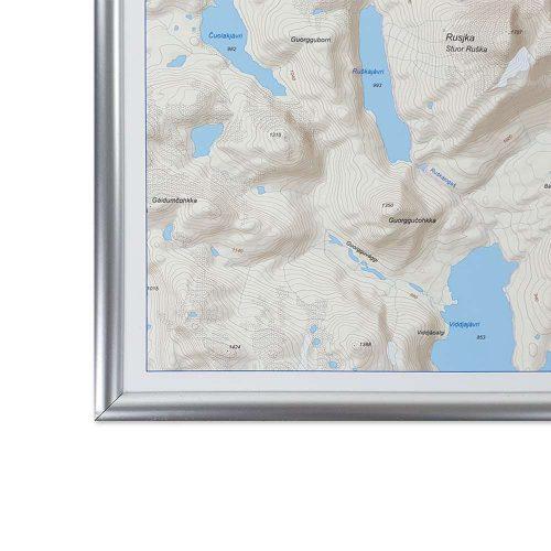 Fjällkarta vägg Kebnekaise Nikkaluokta ram i silver