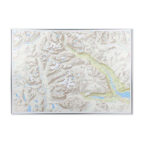 Fjällkarta vägg Kebnekaise Nikkaluokta silver