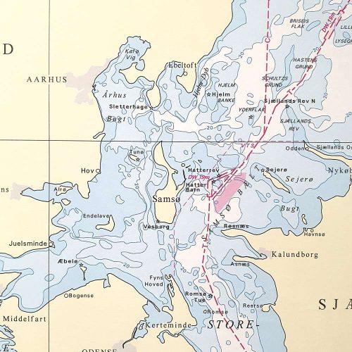 Søkort til væggen C Danmark med omgivende farvande geodatastyrelsen KMS0000C