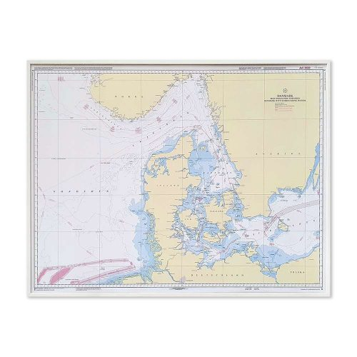 Søkort til væggen C Danmark med omgivende farvande geodatastyrelsen ramme i hvit KMS0000C
