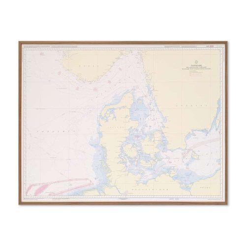 Søkort til væggen C Danmark med omgivende farvande geodatastyrelsen ramme i valnød KMS0000C