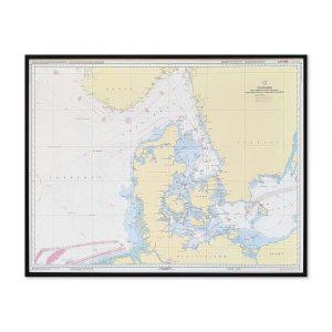 Søkort til væggen C Danmark med omgivende farvande geodatastyrelsen sort ramme KMS0000C