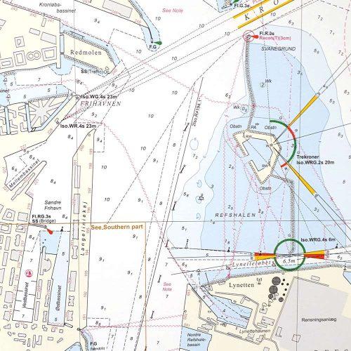 Søkort til væggen 134 Københavns Havn KMS00134