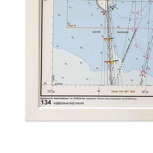 Søkort til væggen 134 Københavns Havn geodatastyrelsen hvid ramme (2)